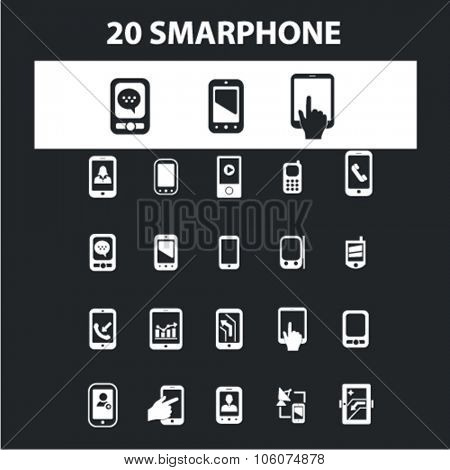Smartphone, mobile phone icons & signs concept vector set for infographics, website