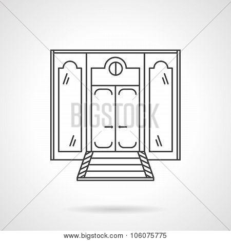 Store front door flat line vector icon