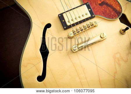 Guitar Body Detail With Sound Hole And Pickup