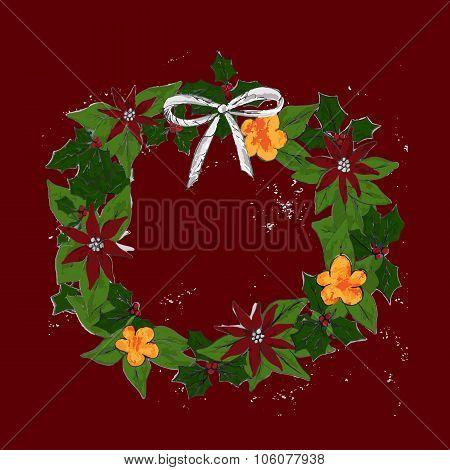 Hand-drawn Christmas Wreath