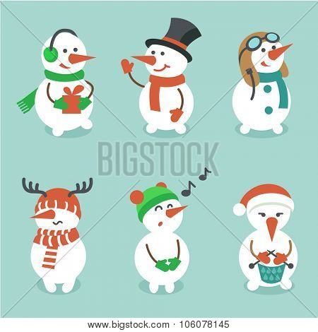 Snowman set, vector illustration