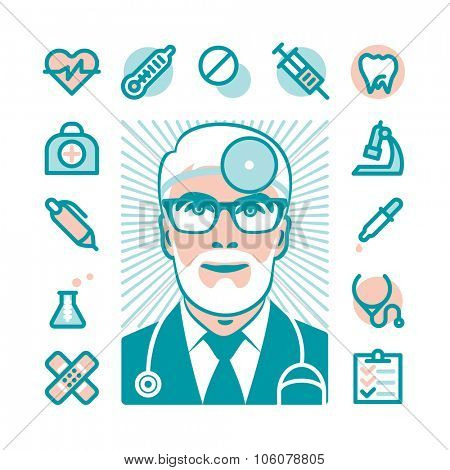Medicine doctor with Fat Line Icons for web and mobile. Modern minimalistic flat design elements of medicine diagnostic, prescription, healthcare equipment, medical service