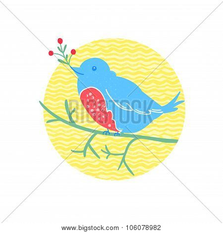 Cute bird sits on the branch and hold a red berries. Winter vector illustration in linocut technique