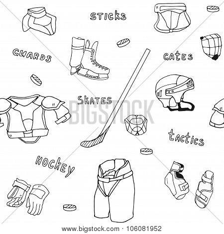 seamless pattern ice-hockey equipment sport icon vector handdrawn illustration collection