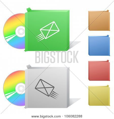 send mail. Box with compact disc. Raster illustration.