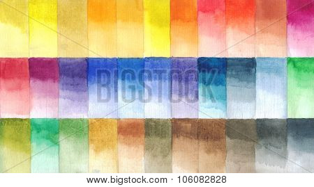 Watercolor paints palette, handmade illustration