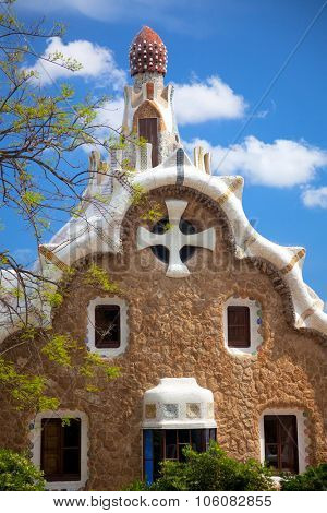 Fantastic architecture in Park Guell, famous landmark, Barcelona, Spain, Europe