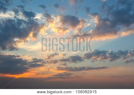 Amazing Panoramic Background of Real Sunrise Sky, colorful natural wallpaper