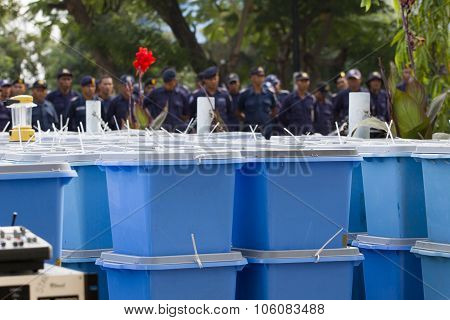 Police Officers And Ballot Boxes