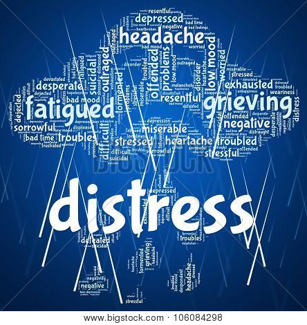 Distress Word Shows Worked Up And Anguish