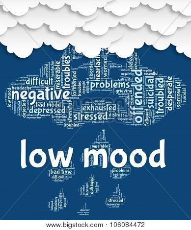 Low Mood Represents Grief Stricken And Depressed