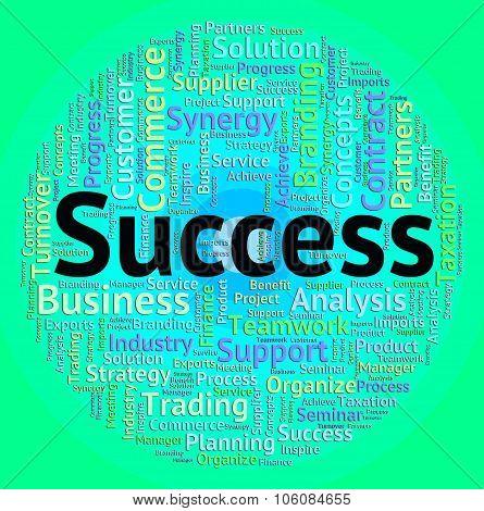 Success Word Represents Win Wordcloud And Winner