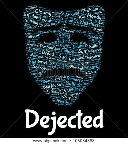 Dejected Word Represents Wordclouds Disconsolate And Unhappy
