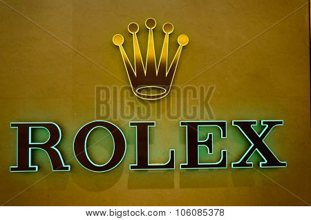 HONG KONG - OCTOBER 25, 2015: close up shot of Rolex logo in the Landmark shopping mall. The Landmark, also known as