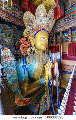 Statue Depicting Maitreya At The Thikse Monastery In Ladakh, India.