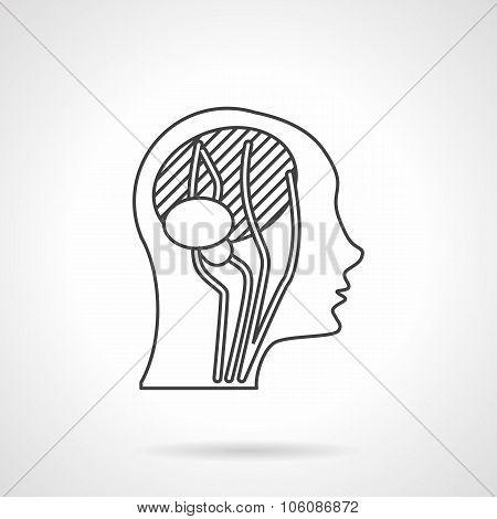 Flat line head anatomy vector icon