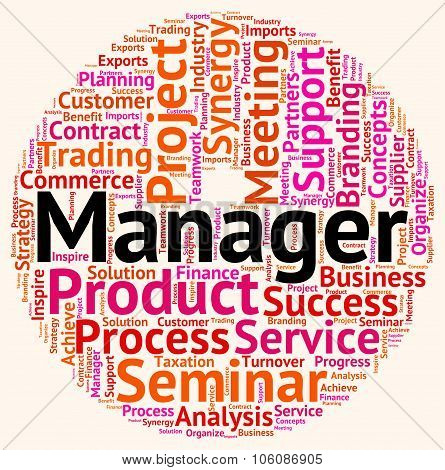 Manager Word Means Text Wordcloud And Principal