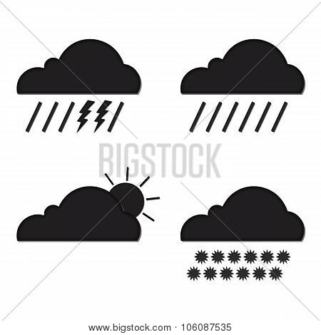 Clouds collection. Weather icons set. Web elements.