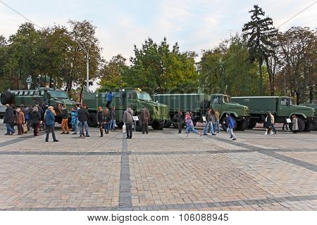 Military Vehicles On Exhibition In Kyiv, Ukraine
