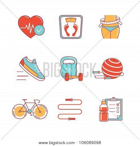 Fitness and healthy lifestyle thin line icons set