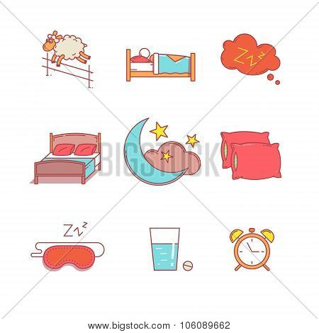 Sleeping, bedtime rest and bed thin line icons set