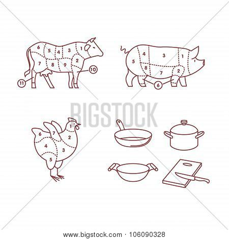 Beef, pork, chicken, pan, wok, pot, board, knife