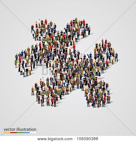 Large group of people forming the puzzle shape. Vector
