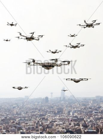drones invasion and town  background