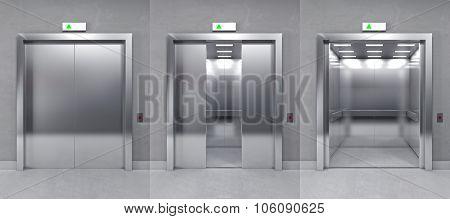 3d image of modern metal elevator