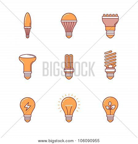 Light bulb icons thin line set