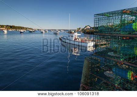 Lobster And Fishingboats In Bass Harbor, Maine