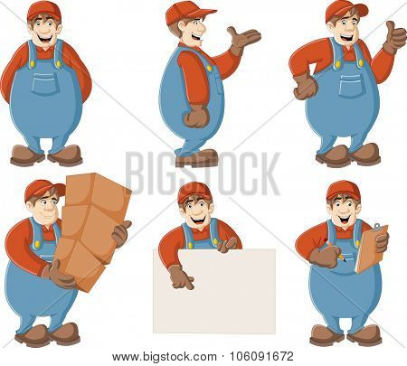 Cartoon worker wearing overalls and hat.