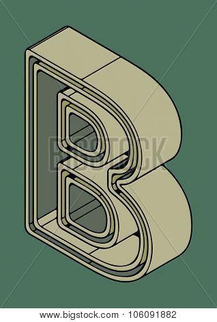 3D alphabet, vector letter B