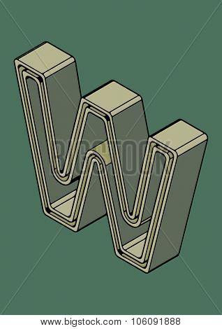 3D alphabet, vector letter W