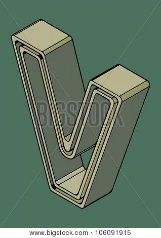 3D alphabet, vector letter V