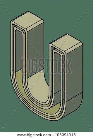 3D alphabet, vector letter U