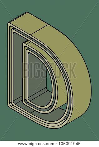 3D alphabet, vector letter D
