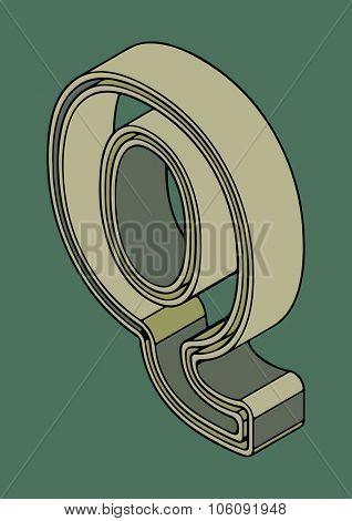 3D alphabet, vector letter Q