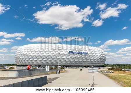 MUNICH, GERMANY - JULY 20: Landscape of the football stadium Allianz Arena on July 20, 2015 in Munich, Germany. Arena designed by Herzog & de Meuron and ArupSport and built between 2002 and 2005.