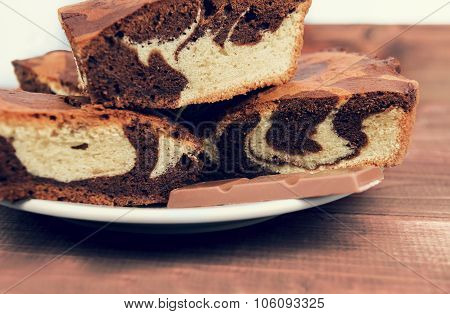 Marble Cake In White Plate Cut Into Pieces A La Carte