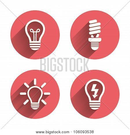 Light lamp icons. Energy saving symbols.