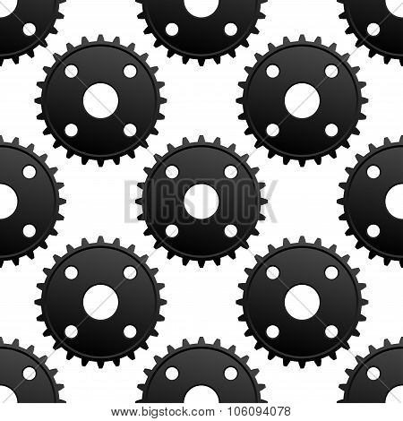 Paatern of black gears with frequent cogs