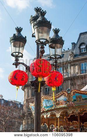Chinese Lanterns Hanging On Lampost In Paris