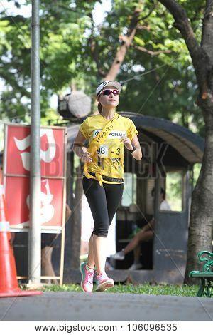 Bangkok - October 23: Unidentified Runner Participates In Ekiden 2015 Marathon Relay Run Fun Forward