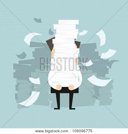 Businessman holding a lot of documents in his hands