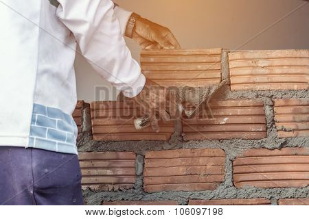 Bricklayer Man Working Build For Construction