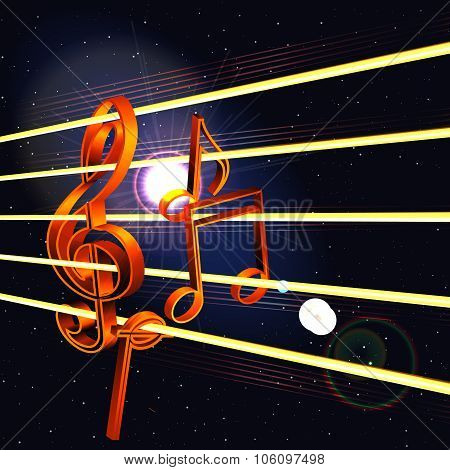 Treble Clef And Notes In Space