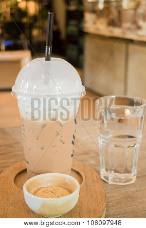 Ice Caffe Mocha Serving On Wooden Table