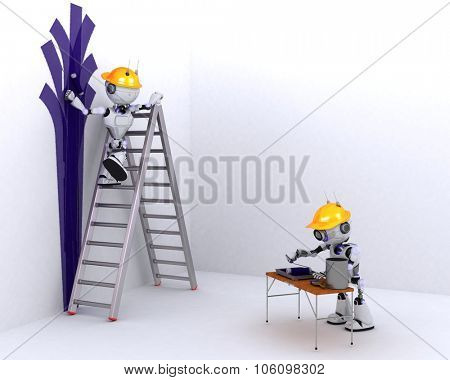 3D Render of a Robot painter and decorator
