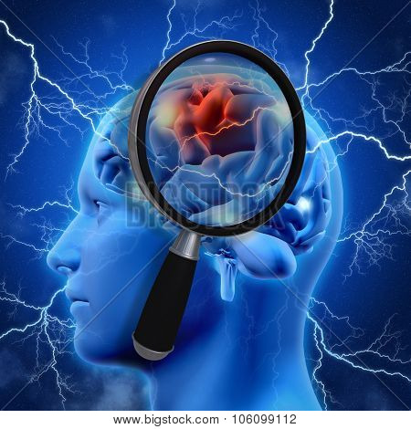 3D medical background with magnifying glass examining brain depicting alzheimers research